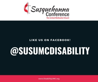 """White words on a black background read, """"Like us on Facebook!"""" At SUSUMCDisability"""