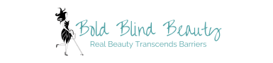 The logo for Bold Blind Beauty if a blue text on a white background with the silhouette of a fashionable woman using a cane