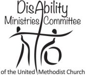 The logo for Disability ministires Committee of the United Methodist Church shows a cross and two people in silhouette. One person sits in a wheelchair and the other stands.