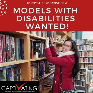"White text on red background reads, ""Models with Disabilities Wanted."""