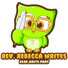 Rev. Rebecca's logo is a lime green owl holding a quill pen and wearing glasses.