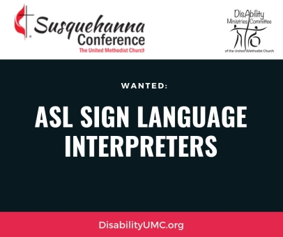 "Black text on a white background reads, ""ASL Sign Language Interpreters Wanted"""