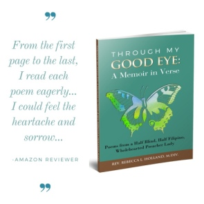 "The book cover for ""Through My Good Eye: A Memoir in Verse,"" shows a butterfly."